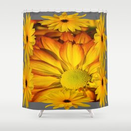 GOLDEN YELLOW SUNFLOWERS ART Shower Curtain