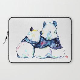 Pandas Bears Colorful Watercolor Painting Laptop Sleeve