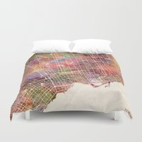 toronto Duvet Covers featuring Toronto by MapMapMaps.Watercolors