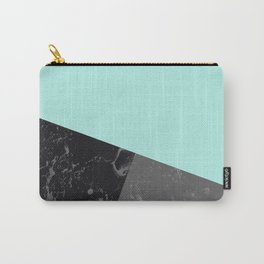 Marble Geometric Bright Mint Gray Black #6 #decor #art #society6 Carry-All Pouch