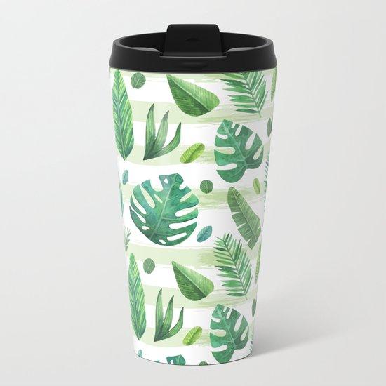 Tropical Palm Tree Leaves Metal Travel Mug