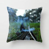 camp Throw Pillows featuring camp by jillian bogarde