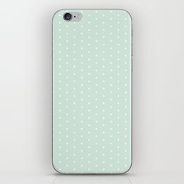 Vintage blush green white elegant chic polka dots pattern iPhone Skin