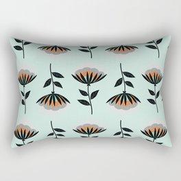Minty Vintage Floral Wallpaper Rectangular Pillow
