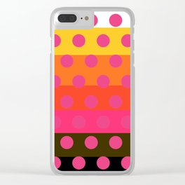 Earth and Summer Sky - Color Strips with Pink Dots Clear iPhone Case