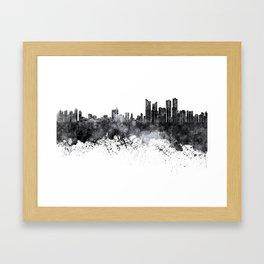 Busan skyline in black watercolor on white background Framed Art Print