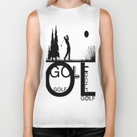 golf Biker Tanks featuring Golf, golf, golf! b&w by South43