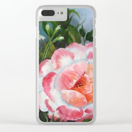 White and Crimson Poppy, Floral Painting Clear iPhone Case