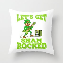 """Guys! Have This St. Patrick's Tee Saying """"Let's Get Sham Rocked!"""" T-shirt Design Irish Four-Cleaf Throw Pillow"""