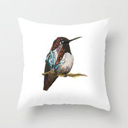 Bee Hummingbird Throw Pillow