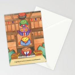 Owl Parliament Stationery Cards