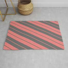 Light Coral and Dim Grey Colored Stripes Pattern Rug