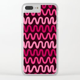 Bold Pink Waves Clear iPhone Case