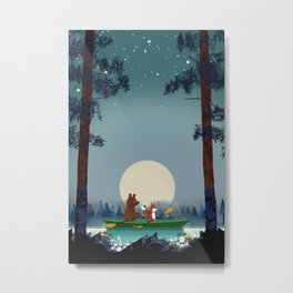 Bear and Fox kayaking on a wild forest river Metal Print