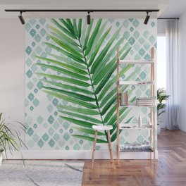 Tropical Palm Frond Watercolor Painting Wall Mural