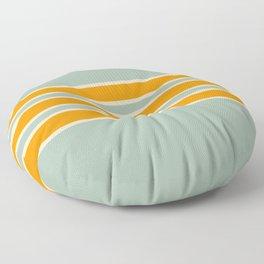 70s Style Mint Orange White Retro Stripes Pomona Floor Pillow