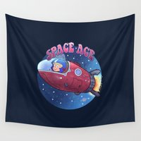toddler Wall Tapestries featuring Space ace by Artificial primate