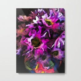 Flowers of Lavender and Pink in a Rainbow Vase 1 Metal Print