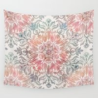 spice Wall Tapestries featuring Autumn Spice Mandala in Coral, Cream and Rose by micklyn