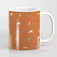 safari Mugs featuring Safari by FunnyFaceArt