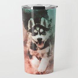 Husky Abstract Watercolor Painting Travel Mug