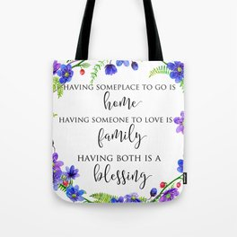 Home Family Blessing Tote Bag