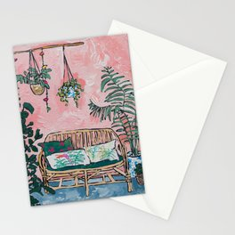 Rattan Bench in Painterly Pink Jungle Room Stationery Cards
