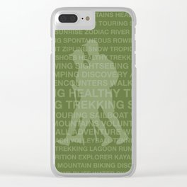 Healthy Trekking Olive Typography Logo Travel Design Clear iPhone Case
