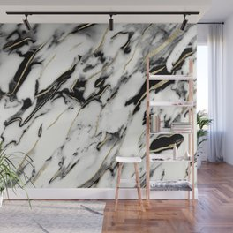 Classic White Marble Gold Foil Glam #1 #marble #decor #art #society6 Wall Mural