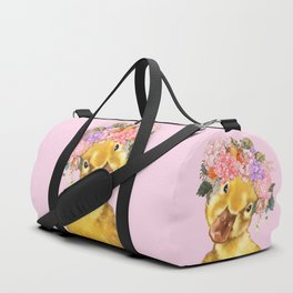 Yellow Duckling with Flowers Crown Duffle Bag