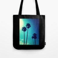 palm trees Tote Bags featuring Palm Trees by Derek Fleener