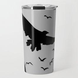 FLOCK OF RAVENS IN GREY SKY Travel Mug
