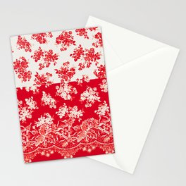 small bouquets in bright red with border Stationery Cards