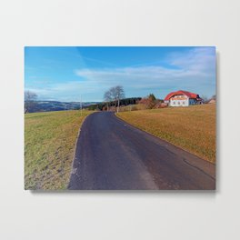 Country road, scenery and blues sky | landscape photography Metal Print