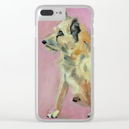 Marvelous Mystery Mutt Dog Portrait Clear iPhone Case