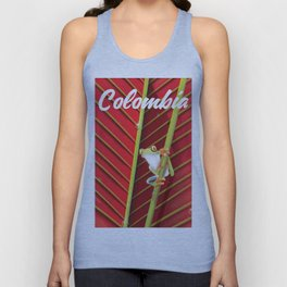 Colombia Frog travel poster. Unisex Tank Top