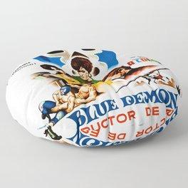 Blue Demon destructor de espias, 1968 (Vintage Movie Poster) Floor Pillow