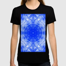 Fractal lace mandala in blue and white T-shirt
