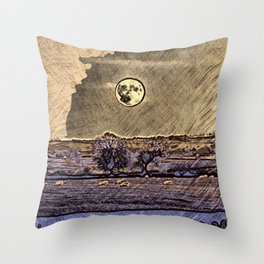 Moon over Debdale Throw Pillow