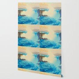 Niagara Falls Hiroshi Yoshida American Landscape Japanese Woodblock Print Wallpaper