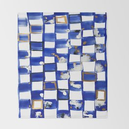 Blue and White Checks Throw Blanket