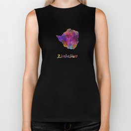 Zimbabwe in watercolor Biker Tank
