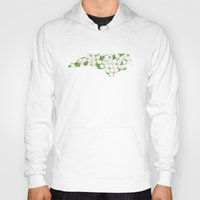 north carolina Hoodies featuring North Carolina in Flowers by Ursula Rodgers
