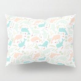 Pastel Whale Pattern Pillow Sham