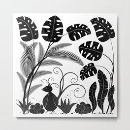 Tropical Forest & Bird (Black on White) Metal Print