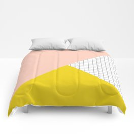 Mustard and Blush Tri Grid Comforters