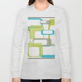 Mid-Century Modern Rectangle Design Blue Green and Gray Long Sleeve T-shirt