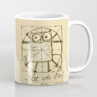 da vinci Mugs featuring Kot da Vinci by Katja Main