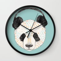 panda Wall Clocks featuring Polkadot Panda by Sandra Dieckmann
