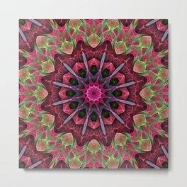 Scarlet Lace Starburst Mandala Metal Print